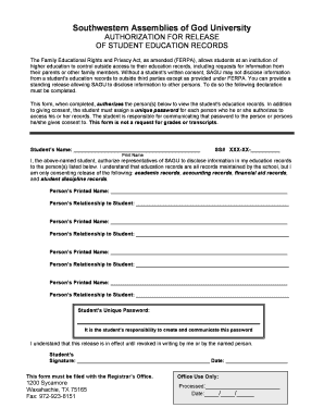 Fillable Online sagu FERPA Consent Form - sagu Fax Email Print ...