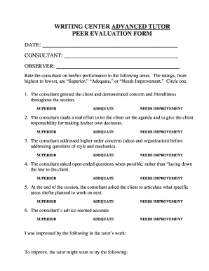 tutoring evaluation form