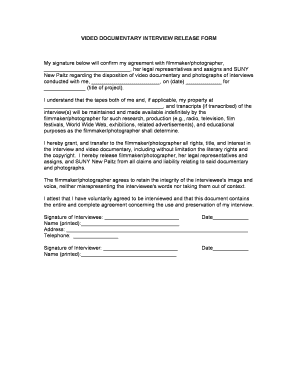 Documentary Release Form - Fill Online, Printable, Fillable, Blank ...