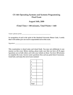 Fillable Online stanford Sample Solutions - CS140 Final