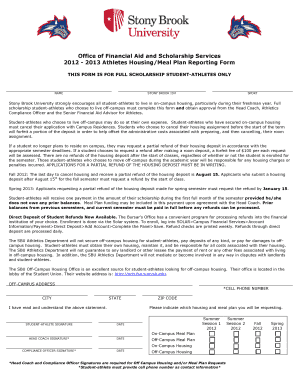 stony brook student atlete housing and meal plan forms