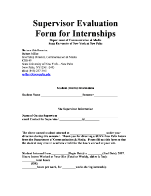 Supervisor Evaluation Form New Paltz Internship   Fill Online, Printable,  Fillable, Blank | PDFfiller