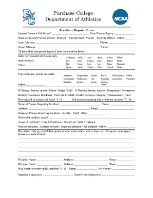 recreation facility accident form