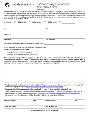 Probationary Performance Appraisal Form - The University of Texas ... - utexas