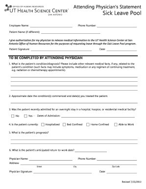 Fillable Online uthscsa Attending physician statement form - The ...