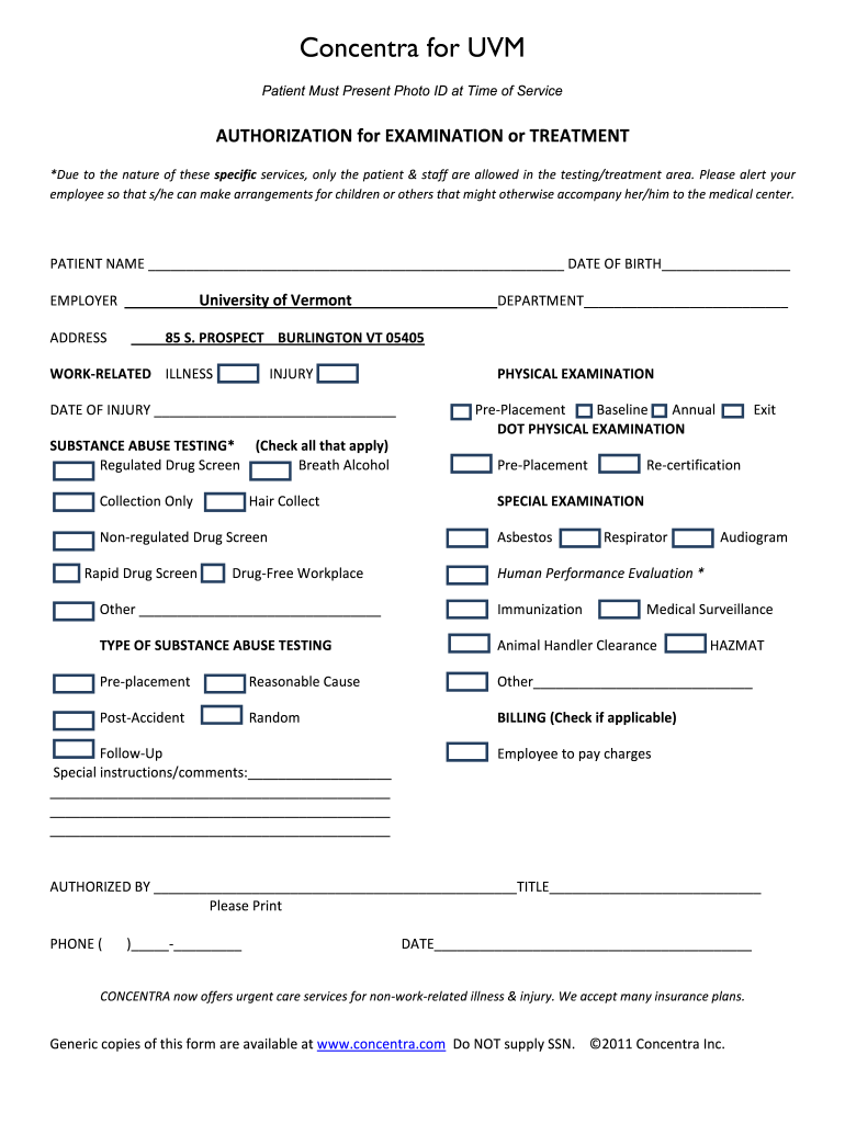 Concentra Authorization Form Fillable - Fill Online, Printable