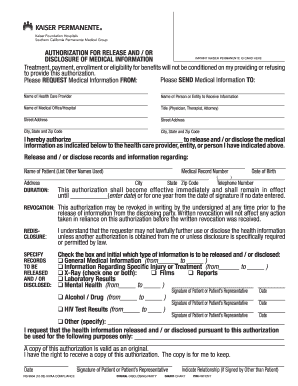 Kaiser Permanente Blank Doctors Note kaiser medical release form
