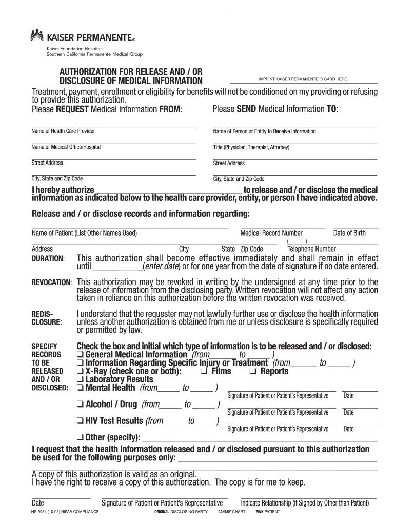 2003 Form CA Kaiser NS-9934 Fill Online, Printable ...