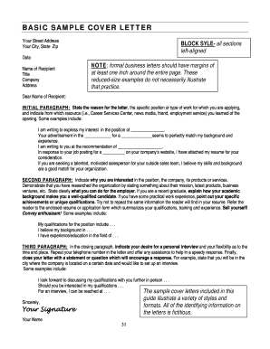 BASIC SAMPLE COVER LETTER - usfca
