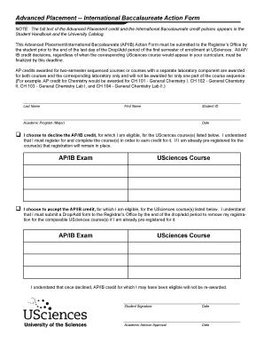 AP/IB Action Form - University of the Sciences in Philadelphia - usciences