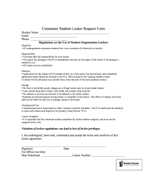 Fillable online usc commuter student locker request form usc fax fill online thecheapjerseys Gallery