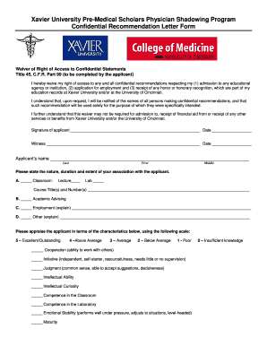 Letter of recommendation forms - Xavier University - xavier