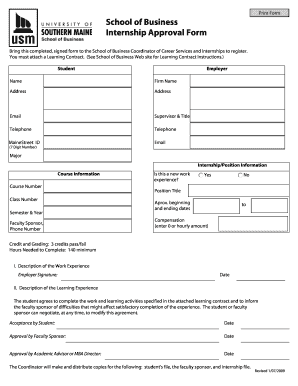 approval sheet about business form