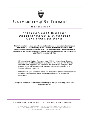 International Student Questionnaire & Financial Certification Form - stthomas