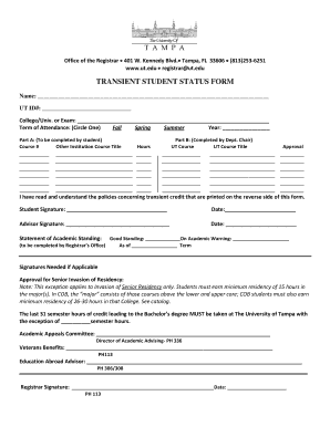 Transient Student Form University Of Tampa - Fill Online ...