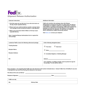 Fedex Signature Release Form Fill Online Printable Fillable
