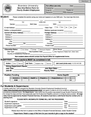 Federal work study form