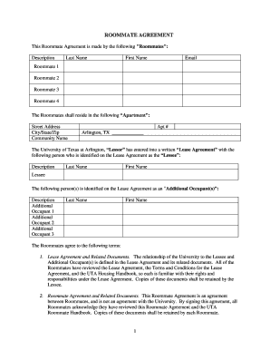 Sample Roommate Agreement - The University of Texas at Arlington - uta