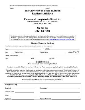 how to fill out texas residency affidavit