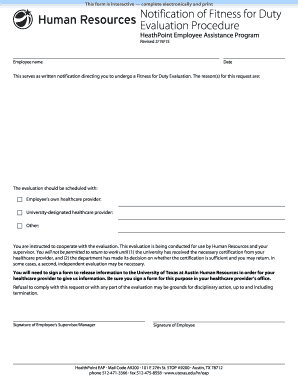 Fillable Online utexas Notification of Fitness for Duty Evaluation ...