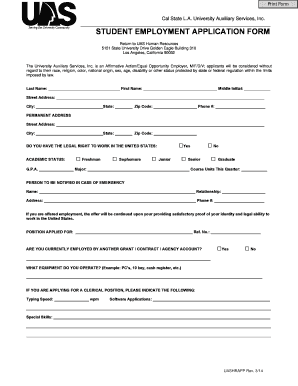 Student employment application form - California State University ... - calstatela