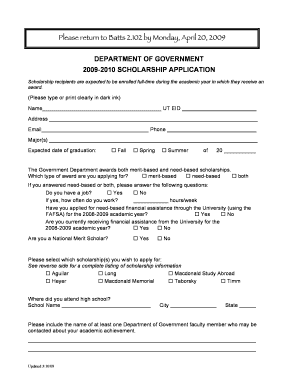 scholarship application form doc