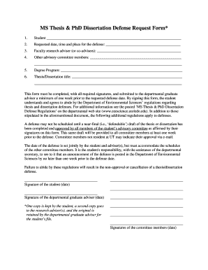 MS Thesis & PhD Dissertation Defense Request Form* - utoledo