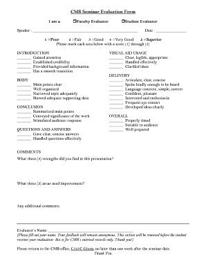 Fillable Online uvm Faculty/Student Seminar Evaluation Form - uvm ...