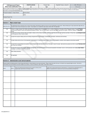 Fillable Online uvm Cost Policy Form - Direct Cost Justification ...