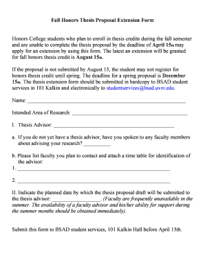 honors college thesis proposal uvm