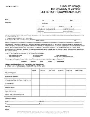 Fillable Online uvm Letter of Recommendation form - University of ...