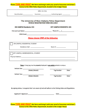 Fillable Online uwa On Campus Parking Registration Form ...