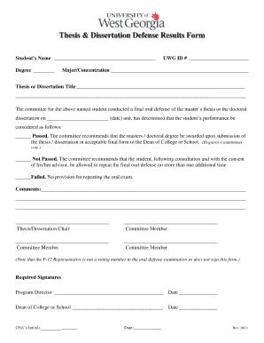 Thesis U0026 Dissertation Defense Results Form   Westga