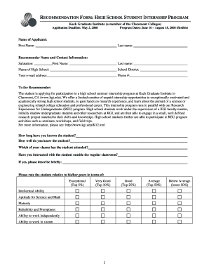 High School Student Recommendation Form - Fill Online, Printable ...