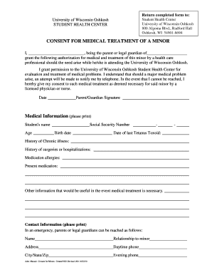 consent for medical treatment of a minor form 28 printable emergency consent form templates 19156