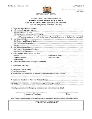 Kenya Passport Application Form