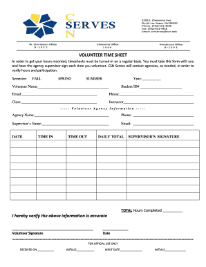 Volunteer Timesheet Template Forms - Fillable & Printable Samples ...