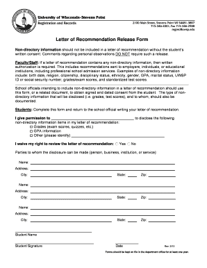 Letter of Recommendation Release Form - uwsp