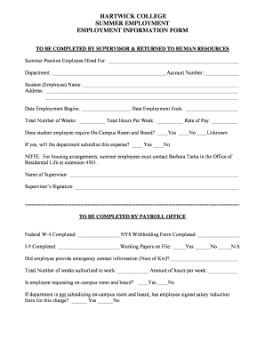 Fillable Online hartwick Employment Information Form PDF ...