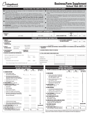 college board businessfarm supplement  14 2011  form