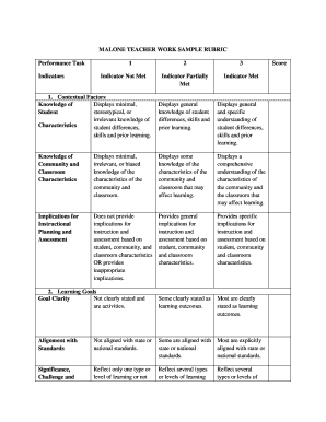 MALONE TEACHER WORK SAMPLE RUBRIC Performance Task ...
