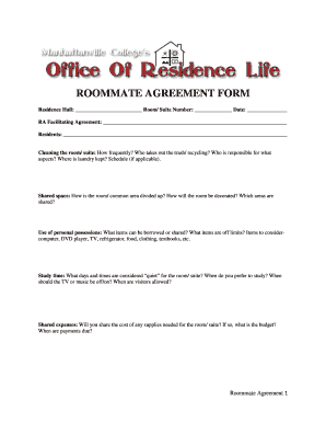 Fillable Roommate Agreement Residence Hall Edit Online