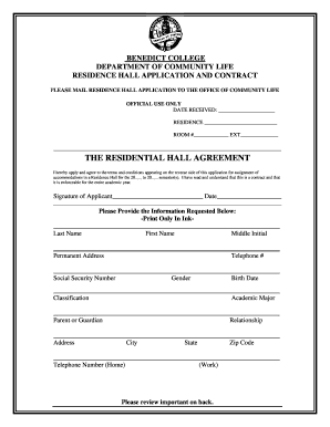 Residence Hall Application and Contract - Benedict College - benedict
