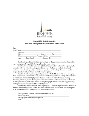 BHSU Photographer Release Form - Black Hills State University - bhsu