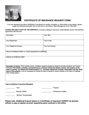 Printable request certificate of insurance from vendor to ...