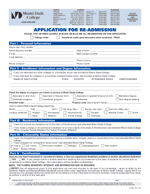 Fillable online mdc application for re admission miami for 500 college terrace homestead fl