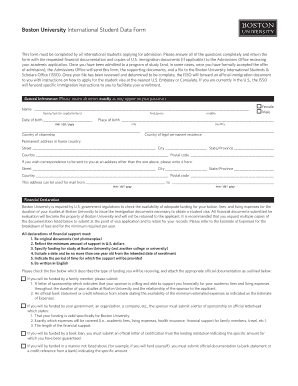This form must be completed by all international students applying for admission - bu