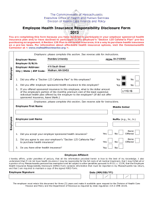 Employee Health Insurance Responsibility Disclosure Form ...