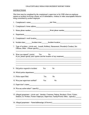 Behaviour Form Fill In Online - Fill Online, Printable, Fillable ...