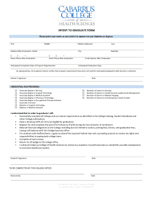 INTENT TO GRADUATE FORM - Cabarrus College of Health Sciences - cabarruscollege